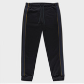 Paul Smith Men's Black Loopback-Cotton Sweatpants With Contrast Side-Stripes