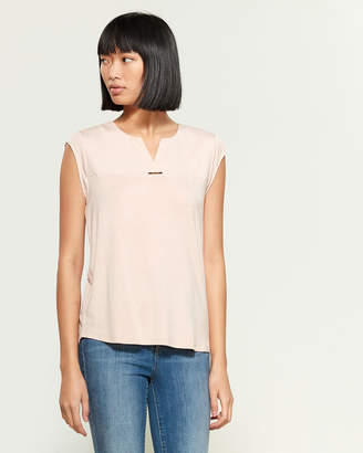 Calvin Klein Sleeveless Split Neck Bar Hardware Top