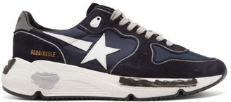 Golden Goose Running Sole Suede And Mesh Trainers - Navy