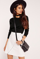 Missguided Black Paneled Ribbed Basic Cropped Sweater