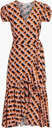 Diane von Furstenberg Vienna Ruffled Printed Linen-blend Midi Wrap Dress