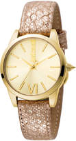Just Cavalli 32mm Relaxed Velvet Leather Watch, Golden