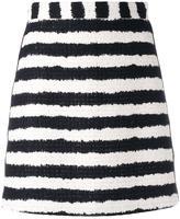 MSGM bouclé stripe skirt - women - Cotton/Linen/Flax/Polyamide/Viscose - 38