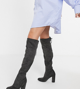 Simply Be wide fit over the knee block heel boots in grey