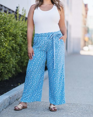The Drop Women's Blue Floral Flowy Pull-On Pants by @caralynmirand XL