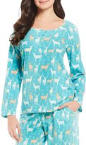 Sleep Sense Script Deer-Print Henley Sleep Top