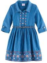 Nannette Girls 4-6x Embroidered Chambray Dress