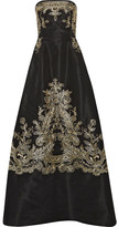 Oscar de la Renta Embroidered Silk-faille Strapless Gown - Black