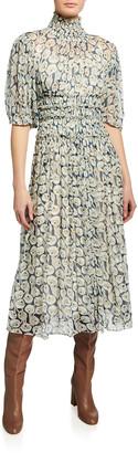 Short-Sleeve Deco Fleur Midi Dress