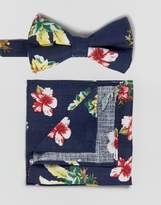 Asos Floral Bow Tie And Pocket Square