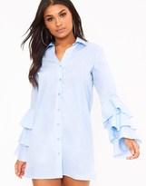 PrettyLittleThing Triple Frill Sleeve Shirt Dress