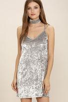 LuLu*s Greatest Love of All Light Grey Velvet Dress