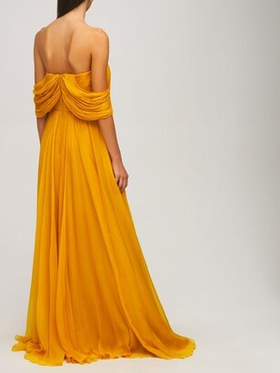 ZUHAIR MURAD Chiffon Strapless Long Dress