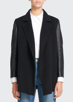 Theory Clairene Wool-Cashmere Jacket w/ Leather Sleeves