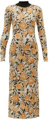Paco Rabanne Floral-jacquard Lurex And Jersey Maxi Dress - Silver Gold