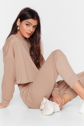 Nasty Gal Womens Work Things Out Sweater and Joggers Lounge Set - Stone