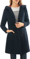 Allegra K Women Toggle Closure Hooded Patch Pockets Duffle Coat