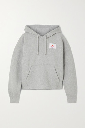 Nike Flight Appliqued Embroidered Cotton-blend Jersey Hoodie - Dark gray
