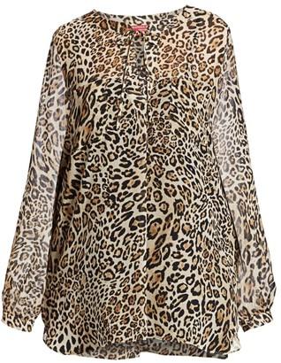 Marina Rinaldi, Plus Size Marina Sport Fastigio Leopard Print Georgette Blouse