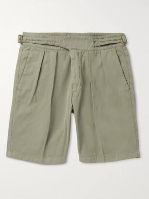Rubinacci Manny Garment-Dyed Pleated Cotton-Twill Shorts
