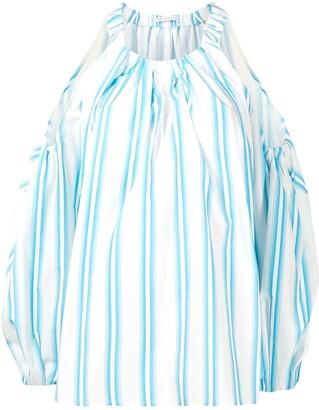REJINA PYO Carmen striped cut-out blouse
