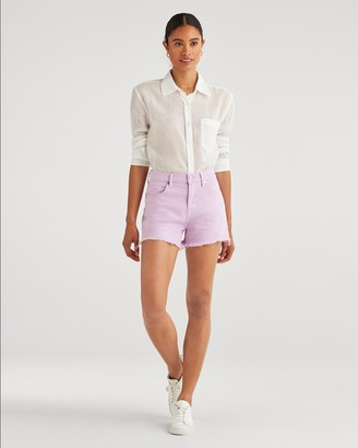 7 For All Mankind High Waist Short with Frayed Hem in Sweet Lilac