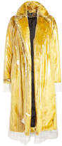Calvin Klein Faux Fur Coat with Transparent Overlay