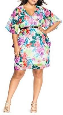 City Chic Plus Bloom A-Line Dress