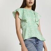 Thumbnail for your product : River Island Womens Green short sleeve peplum blouse