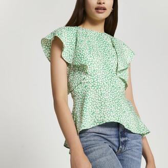 River Island Womens Green short sleeve peplum blouse