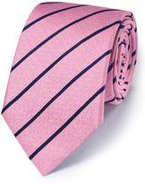 Charles Tyrwhitt Pink and Navy Silk Classic Textured Stripe Tie Size OSFA