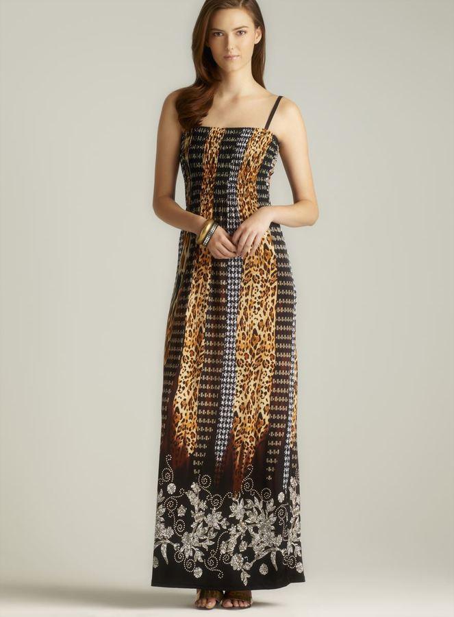 Ninety Smocked Mix Print Maxi Dress