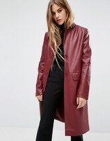 First & I Faux Leather Trench Coat