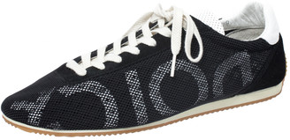 Dolce & Gabbana Black/White Mesh and Suede Lace Low Top Sneakers Size 43