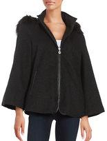 Betsey Johnson Faux Fur-Trimmed Chevron Coat