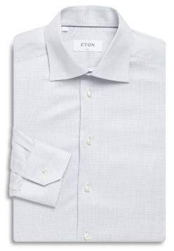 Eton Thin Gingham Print Slim-Fit Cotton Dress Shirt