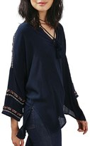 Topshop Women's Embroidered Long Sleeve Tunic