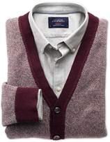 Charles Tyrwhitt Wine Jacquard Wool Cardigan Size XXL