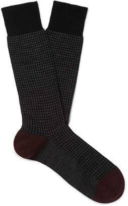 Pantherella Hatherley Houndstooth Merino Wool-Blend Socks