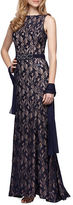 Alex Evenings Petite Sleeveless Sequined Lace Gown