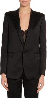 Saint Laurent Satin Sequined-Cuff Jacket