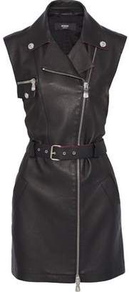 Versace Belted Textured-leather And Jersey Mini Dress