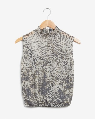 Express Animal Print Smocked Neck Split Back Tank