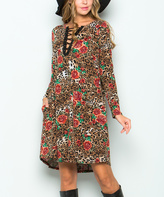 Sweet Pea Mocha Jungle Notch Neck Dress