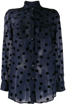 Romeo Gigli Pre-Owned 1990's polka dots sheer shirt