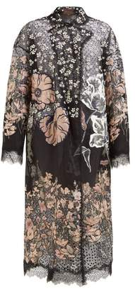 Biyan Runette Floral Embroidered Tulle Lame Coat - Womens - Black Multi