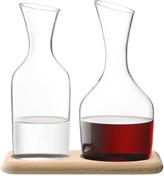 LSA International Wine Water & Wine Carafe Set & Oak Base