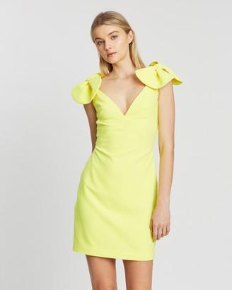 By Johnny. V Plunge Bow Shoulder Mini Dress