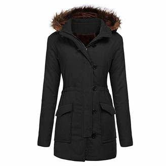 Women's Tops Toamen Womens Jacket Parka Coat Sale Clearance 2019 New Long Sleeve Warm Faux Fur Trimmed Hooded Fleece Lined Zip Pockets Outerwear Cardigan Overcoat(Black 2XL)