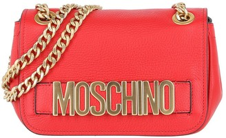 Moschino Logo Chain-Strap Leather Shoulder Bag